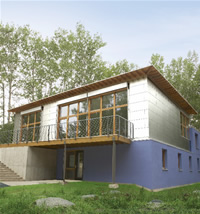 WALDSEE BIOHAUS Main exterior view of first certified Passivhaus in North America: Waldsee BioHaus.